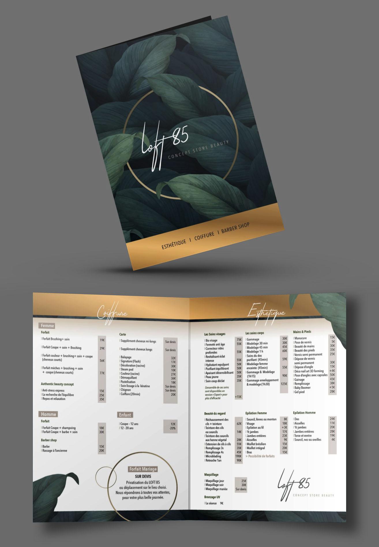 Dépliant Tarifs 2 volets, Concept store beauty